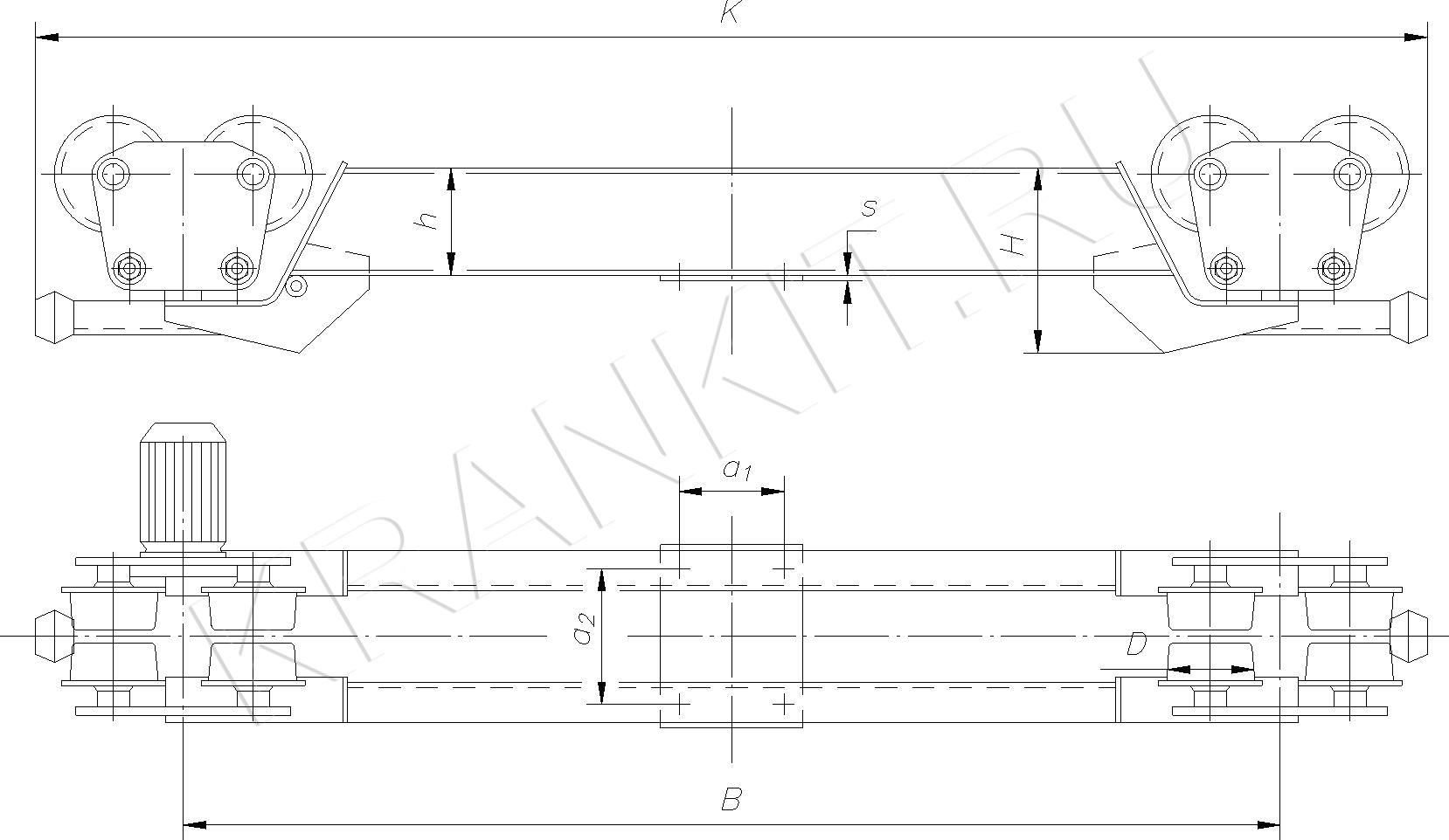 Концевые балки для мостовых подвесных однобалочных кранов