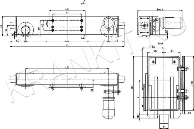 Концевые балки для мостовых однобалочных опорных кранов