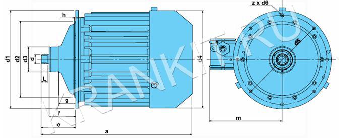 Электродвигатели К-Ех для механизма подъема канатных электротельферов