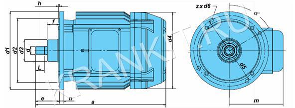 Электродвигатели KV для механизма подъема канатных электротельферов серия VAT